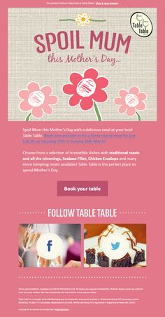 Mother's Day Email encouraging customers to book a table - from Table Table #EmailMarketing #Email #Marketing #Restaurant #Food #Booking #MothersDay #Mothers #Day