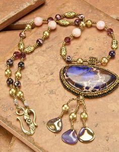 NECKLACE Bead Embroidered Purple Aquaterra Gemstone - Boho - Downton Abbey Elegant - SRAJD