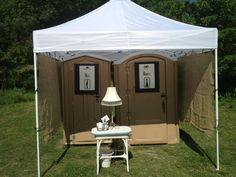 Wedding - almost like home - almost - how to decorate a porta- potty fit for a vintage outdoor wedding.