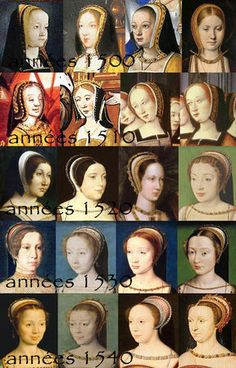 Evolution de la coiffure de 1500 à 1550. None of these styles involve loose hair flopping freely around, merely crowned by a hat.  I don't understand why women who take such care otherwise in their tudor costumes do that.  Put your hair away.