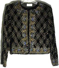 PAPELL BOUTIQUE EVENING Black Velvet Jacket -Bugle Beads - Sequins - Size Large
