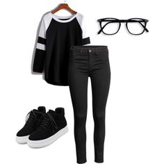 A fashion look from November 2016 featuring long sleeve tees, skinny jeans i black sneakers. Browse and shop related looks.