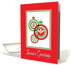 Christmas-Season's Greetings-Red And Green Ornaments card