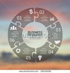 Circle puzzle infographic. Template for cycle diagram, graph, presentation and round chart. Business concept with 6 options, parts, steps or processes. Vector blur background. Easy editable.