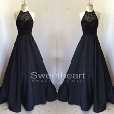 Unique Black round neck beaded long prom dress for teens, evening dress from…