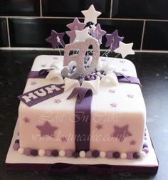 50th Purple Present Cake