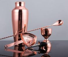 Luxury Boxed 5-Piece Rose Gold HOMESTIA Cocktail Set  Includes: Cocktail Shaker Jigger Strainer Mixing Spoon Pourer Cocktail Shaker, Rum, Spoon, Cocktails, Copper, Rose Gold, Luxury, How To Make, Collection