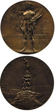 1920 Antwerp Olympic medal - 3rd place, Bronze = 1920 Antuérpia, medalha olímpica - 3º Lugar, Bronze