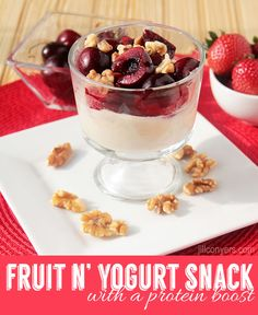 Fruit and Yogurt Snack with a Protein Boost jillconyers.com @jillconyers #recipe #snack - plus - in this post, find out how to measure out your portions, calories and macros with The Orange Chef Prep Pad. #FitFluential