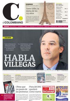 Portada de El Colombiano para el domingo 30 de marzo de 2014