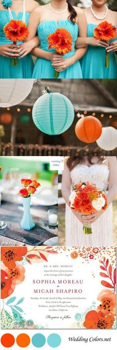 A sea of light teal blue mixed with a bold tangerine, that's what today's wedding color inspiration is all about! These two gorgeous contrasting colors can be a Teal Wedding Flowers, Best Wedding Colors, Wedding Color Schemes, Wedding Themes, Wedding Ideas, Teal Wedding Decorations, Wedding Inspiration, Trendy Wedding, Fall Wedding