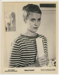 Jean Seberg in Breton stripes. Wear with white cropped jeans and heels, wear later with a blazer, slim black pants and heels.