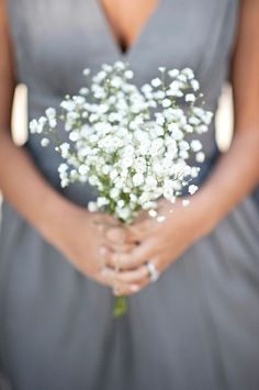 babys breath bouquet and a muted grey dress? oh haaaay