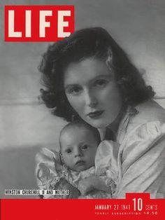Life Magazine January 1941 : Cover - Pamela Churchill and her son, Winston Churchill II. Winston Churchill, Look Magazine, Magazine Ads, Magazine Covers, Old Magazines, Vintage Magazines, Life Cover, People Of Interest, Royals