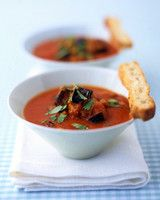 Roasted Tomato and Eggplant Soup | Martha Stewart Living - Roasting the tomatoes and eggplant deepens the flavor of this vegetarian soup.
