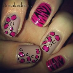 Nude and pink animal print nails