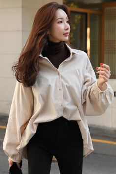korean fashion StyleOnme_Loose Fit Puff Sleeve Collared Shirt Source by helbetsy outfit Korean Fashion Trends, Korean Street Fashion, Asian Fashion, Look Fashion, Fit For Fashion, K Fashion Casual, Korean Women Fashion, Korean Fashion Winter, Korea Fashion