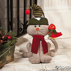 Plush Cat With Cardinal