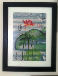 Acrylic Flower Painting- Chinese, original, pastel, natural, art, hand painting, rice paper by AnatolianFinds on Etsy