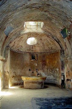#Pompeii  --  Frigidarium of the Forum Baths Excavated at Pompeii