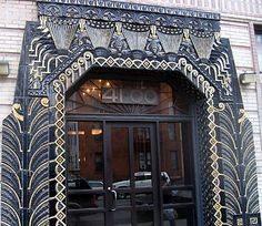 Art Deco Egyptian Palm Fronds Ornate Entrance Doorway pattern