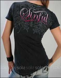 Sinful Clothing - Women's Vinery S/S Baby Tee Shirt in Black review ..  Affliction ...