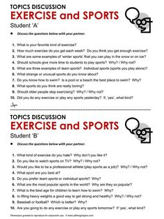 Exercise and Sports, English, Learning English, Vocabulary, ESL, English…
