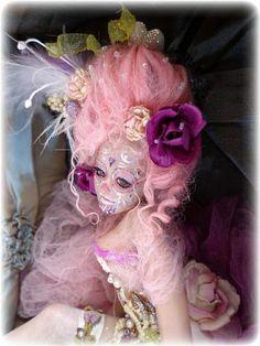 """French Courtesan Sugar Skull Art Doll 8 1/2"""""""