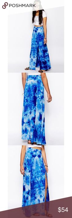 ASOS Wrap Maxi Skirt in Tie Die Made from a soft touch fabric blend. High rise, fitted waistband. Thigh-high split to side. Regular fit. Hardly ever worn. Asos Skirts Maxi
