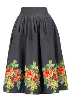 Grey floral applique work skirt available only at Pernia's Pop-Up Shop.