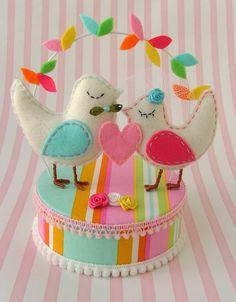 Felt Love Birds Cake Topper
