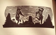 'May twilight' woodcut by Eric King
