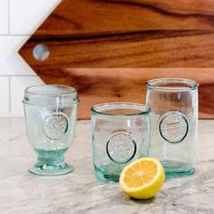 Authentic Recycled Glass - lowball tumbler/old fashioned glass. Imported from Spain. Alesund, Urban Barn, Carafe, Console Table, Urban Farmhouse, Old Fashioned Glass, Condo Living, Recycled Glass, Home Decor Inspiration