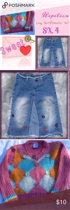 🍭Lilica Ripilica Long Blue Jean Skirt/Sweater Set 🍭Blue Jean Skirt Long. Has Little Felt Flowers on Front🍭 Sweater Pink, Blue, Orange, and White Has Little Felted Flowers on Front🍭 Price Drop Was $25 SET (SIZE 4) Lilica Ripilica Dresses