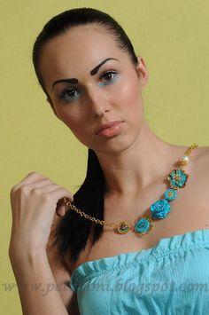 Handmade polymer clay statement necklace
