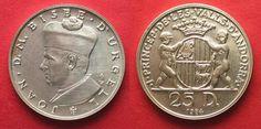 1984 Andorra ANDORRA 25 Diners 1984 JOAN BISBE D'URGELL I silver UNC RARE!!! # 93275 BU (MS65-70)
