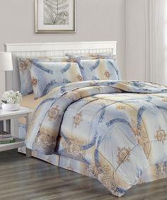 J queen new york women alessandra comforter set blue beige ornate chloe eight piece bedding set aloadofball Images