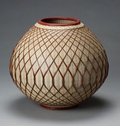 virtual-artifacts:  White Lacquered Flower Basket, approx. 1998By Kajiwara Koho (b.1935)Kyushu: born in Hita-gun, Oita Prefecture, active in Beppu, Oita PrefectureBamboo (madake) and rattan Selected techniques: mat plaiting, twining, diamond twill base, openwork square plaiting (overlay) H. 12 in x Diam. 13 in.Lloyd Cotsen Japanese Bamboo Basket Collection, 2006.3.813 (B-1042); catalogue no. 29Photograph by Kaz Tsuruta.