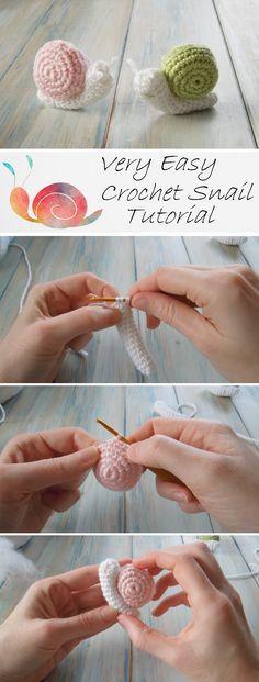 Baby Knitting Patterns Toys Very Easy Crochet Snail Tutorial – Design Peak Crochet Snail, Crochet Amigurumi, Cute Crochet, Amigurumi Patterns, Crochet Crafts, Crochet Dolls, Crochet Yarn, Easy Crochet, Crochet Flowers