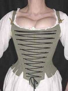 Working class stays 1740s-60s: Front lacing meant that the wearer would be able to dress herself and could alter the fit of the stays by increasing or decreasing the gap across the stomacher. All levels of society wore stays but the stays of the lower classes might be made more flexible or more easily fastened, particularly if the wearer had to dress herself. The cheapest stays were made of leather that was scored with a knife to give it more flexibility.