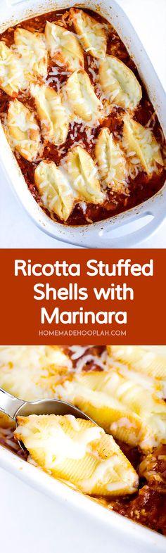Ricotta Stuffed Shells with Marinara! Jumbo shells stuffed with ...