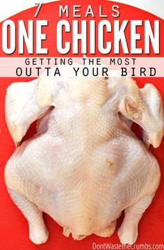 Getting the most from a whole chicken is one of the easiest ways to stretch your grocery budget, and it's how we keep ours at just $330/month. Learn the super simple trick for turning 2 chickens into 7 meals! :: DontWastetheCrumbs.com