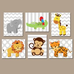 ★Jungle ANIMALS Wall Art, CANVAS or Prints, Safari Theme, Baby Boy Nursery Artwork, Playroom Pictures, Elephant Monkey Lion Giraffe Set of 6  ★Includes 6 pieces of wall art ★Available in PRINTS or CANVAS (see below)  ★SIZING OPTIONS Available from the drop down menu above the add to cart button with prices. >>>  ★PRINT OPTION Available sizes are 5x7, 8x10, & 11x14 (inches). Prints are created digitally and printed with UltraChrome Hi-Gloss ink on professional 68lb satin luster ph...