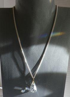 Achat - Versilberte Halskette mit Kristalltropfen - ein Designerstück von sibea bei DaWanda