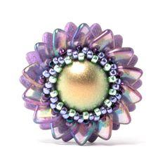 *P Double Pinwheel Beaded Bead by Cindy Holsclaw