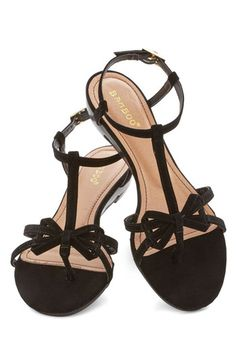 Impromptu Date Sandal in Black - Low, Faux Leather, Black, Solid, Bows, Daytime Party, Beach/Resort, Summer, Strappy