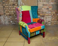 Mad Hatter Wing Back Chair; love this chair, wish I owned it - I'd design a whole room around it! Funky Furniture, Colorful Furniture, Painted Furniture, Furniture Design, Deco Cafe, Patchwork Chair, Funky Chairs, Take A Seat, Upholstered Furniture