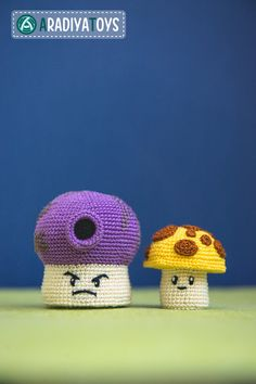 "Crochet Pattern of Sun and Fume Shrooms from ""Plants vs Zombies"" (Amigurumi tutorial PDF file)"