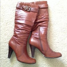 ✨Reduced! 💫 Aldo Cognac Boots Only worn a few times. Very flattering! A few water spots (could probably be buffed out) + left toe scuffs. Can be shipped worth original box, packaging and receipt ALDO Shoes