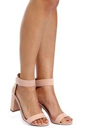 Pink Velcro Strap Block Heels